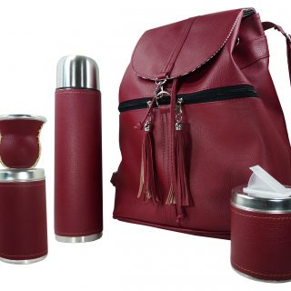 Set matero con mochila color bordo